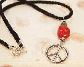 Peace Sign Necklace. Red Coral and Peace Charm Necklace. Teen Necklace, OOAK Handmade Necklace. CKDesigns.US