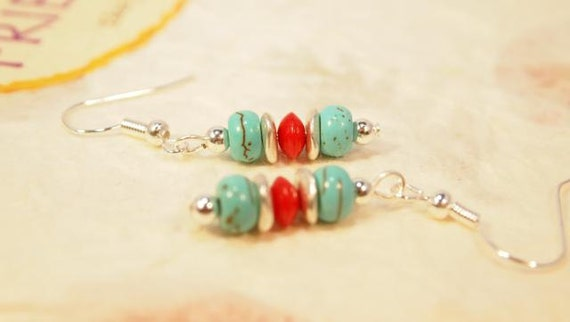 Turquoise, Red Coral and Silver Beaded Dangle Pieced Earrings.  CKDesigns.us