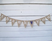 Thank you burlap bunting banner with Navy Blue heart