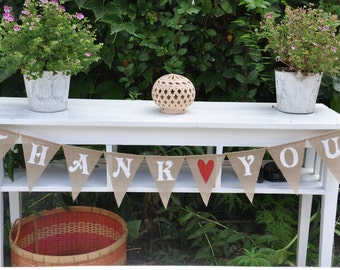 CLEARANCE SALE, Thank you burlap banner bunting - wedding garland- photography prop