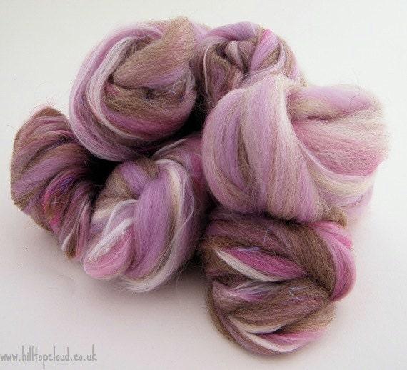 Lilac BFL Spinning Fiber - Purple Wool Roving  BFL, Merino, Bamboo,  100g Bianca 1118