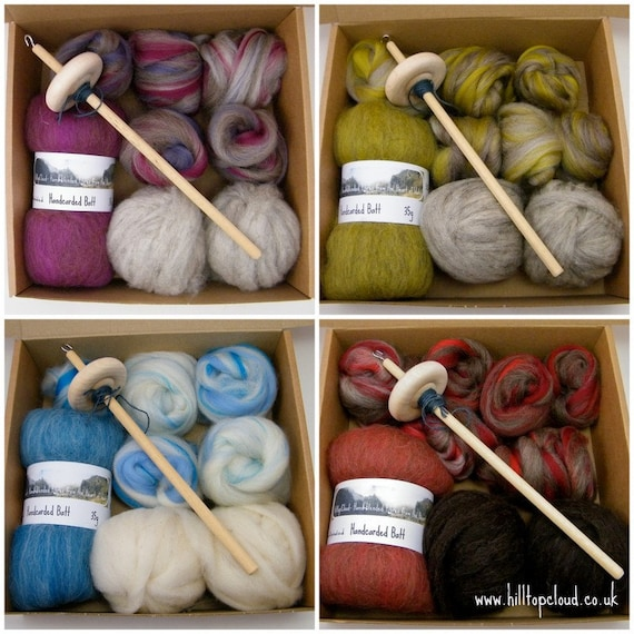 Drop Spindle Kit, - Learn to Spin- 135g (4.8oz) roving, batt, fibre, a spindle and beginner instructions