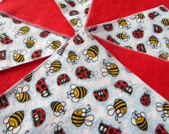 IMPERFECT: Diaper wipes/Flannel washcloths/Cloth diaper Wipes for Baby, Ladybugs and Bees (10)