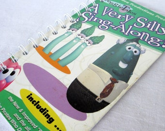 Upcycled Notebook/Recycled Notebook from a Veggie Tales A Very Silly Sing-Along VHS box, 50 sheets/100 pages
