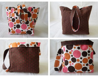 Knitting Project Bag/Crochet Project Bag (reversible wristlet) in pink, orange and brown polka dots