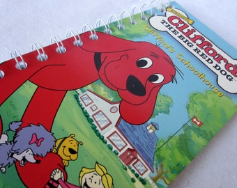 Upcycled Notebook/Recycled Notebook from a Clifford the Big Red Dog: Clifford's Schoolhouse VHS box, 50 sheets/100 pages