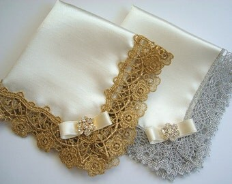 Mother of the bride and groom gift Set of handkerchiefs Wedding hanky Satin handkerchief Gold lace wedding Silver anniversary Mother Card