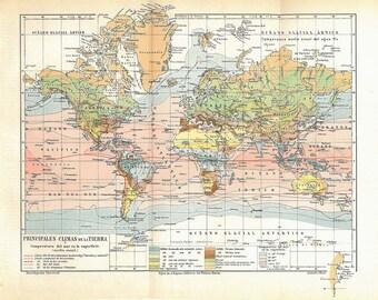 1930s Original Vintage World Map Climate, Sea Temperatures