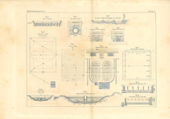 Water treatment Technical  Drawing Antique Engineering  1874