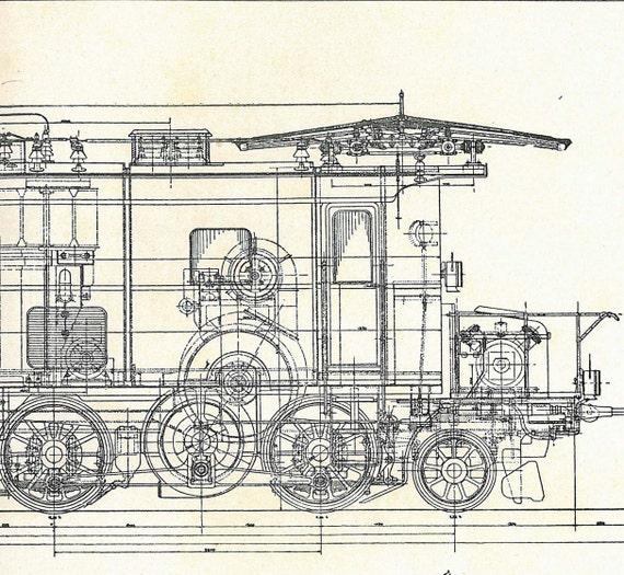 Locomotive Vintage Technical Drawing Engineering Bern Railways 1920s