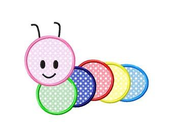 Caterpillar Applique Machine Embroidery Design - 4 Sizes