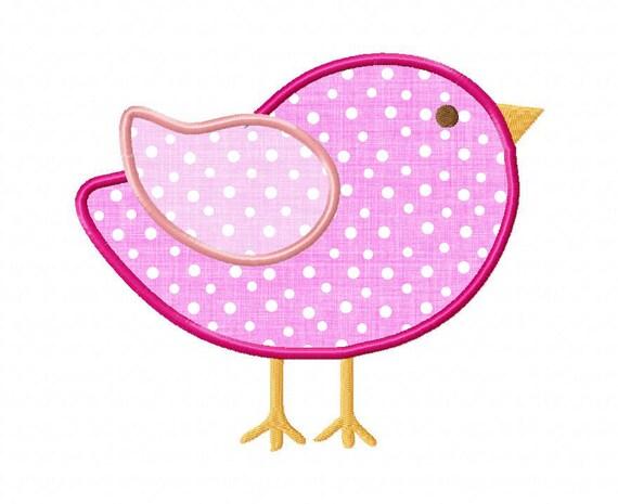 Little Bird Applique Machine Embroidery Design - 4 Sizes
