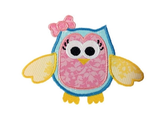 Applique Girly Owl With a Bow Machine Embroidery Design - 3 Sizes