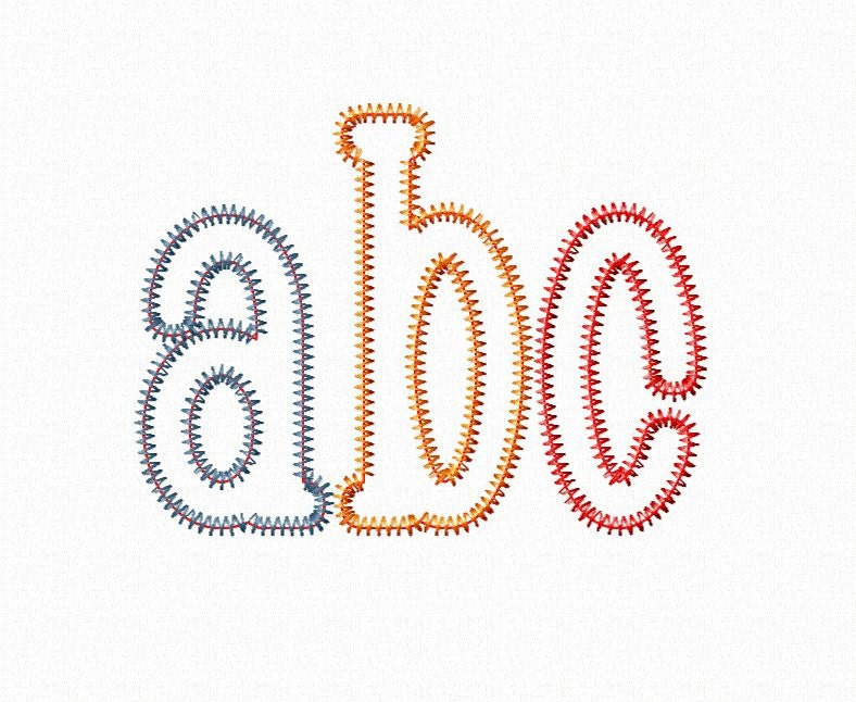 Zig zag chachie applique machine embroidery font monogram
