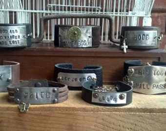 Leather Cuff Bracelet With Hand Stamped Quote/Saying and Charm. Choose your quote and Customize.