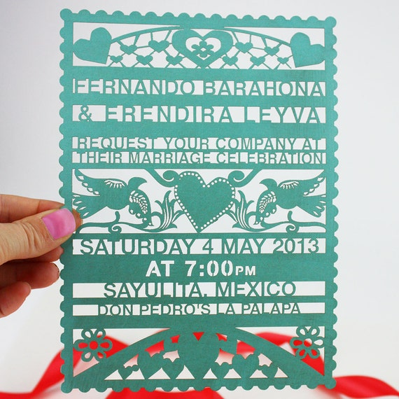 papel picado lasercut wedding invitation, Wedding invitations