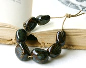 Rustic Texture Beads Set - Coffee Brown Antique Blue Mossy Green