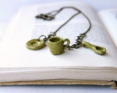 Teeny Tiny Tea Cup Saucer & Spoon - Miniature Ceramic Charm Necklace - Antiqued Brass Chain - Moss Green - Ready to Ship