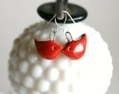 Red Robin Love Bird Ceramic Dangle Earrings - Bright Red - Made to Order