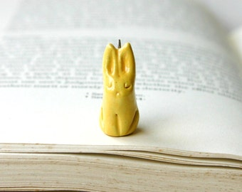 Miniature Rabbit Porcelain Charm - Light Yellow - READY TO SHIP