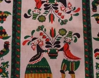 Vintage Towel Folk Art Linen Towel
