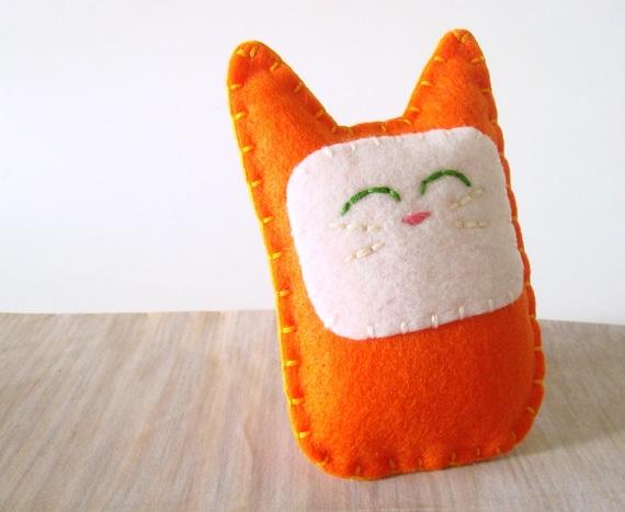 Orange Tabby Cat Felt Plush Doll Kitty Stuffed Animal Sale