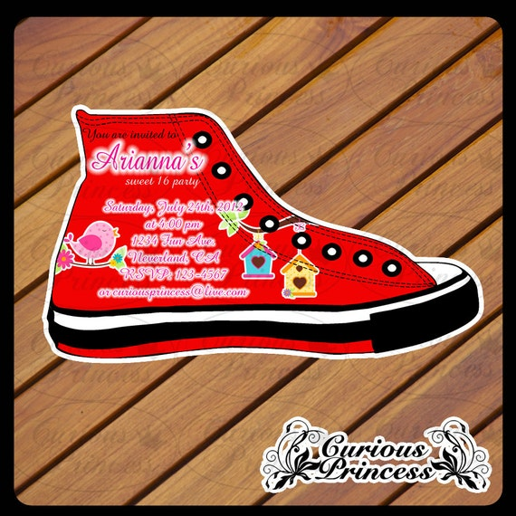 CONVERSE tennis shoe boy girl girly happy invitation shoes invitations birthday party printable file digital diy piy