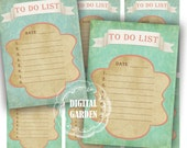 Turquoise Tag To do List  - Digital collage sheet Paper Goods vintage Cards Buy 2 GET 1 Free Printable