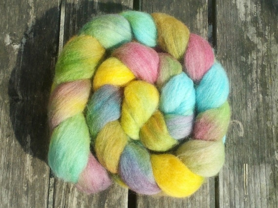 Flower Meadow: Handpainted BFL Top (Roving) 100 gram / 3.52 oz Spinning and Felting Fiber by Perfors Craft Products