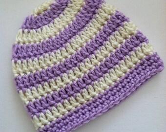 Lavender and Cream Stripe Beanie, Crochet Baby Hat, Newborn Hat, Baby Hat, Crochet Baby Beanie, Photo Prop, Lavender Baby Hat