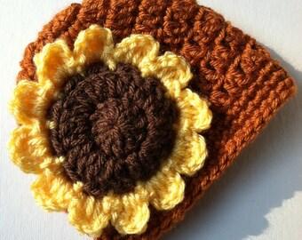 Crochet Hat with Flower, Nutmeg Brown, Yellow Sunflower Hat, Photo Prop, Newborn, Little Girl, Child Hat, Autumn Hat, Halloween