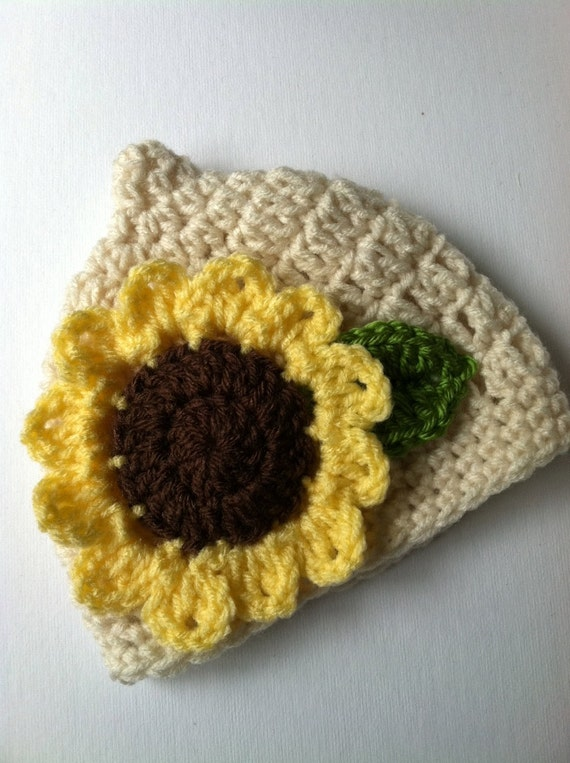 Crochet Baby Hat with Sunflower, Crochet Baby Hat, Newborn Hat, Pixie Hat, Sunflower Baby Hat, Hat with Flower, Baby Girl Hat, Infant Hat