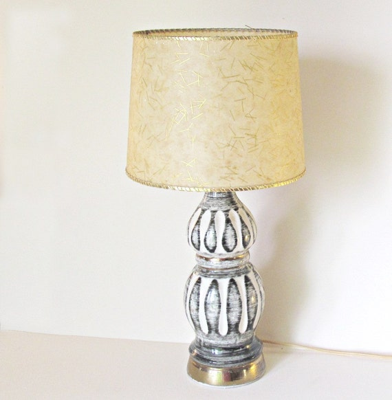 Vintage Lamp Lighting Black White and Gold with Original Fiberglass Shade