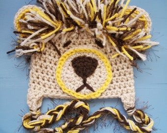 Baby Boy/Girl Crochet Lion Animal Beanie Hat SIZE Newborn-Adult