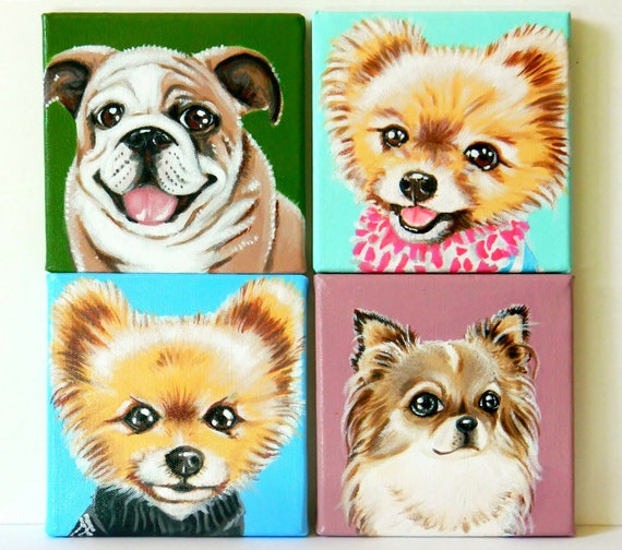 Custom Dog Portrait Set of 4 / Custom Pet Portrait - 1 to 4 Pets - Close-Up Solid background (6x6x0.75inch)