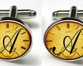 Silver Bezel CuffLinks Glass Round Antique Clock Script Custom Letter Monogram Trendy Wedding