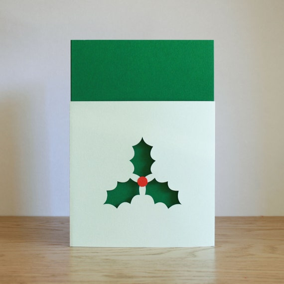 Paper cut Holly Christmas card