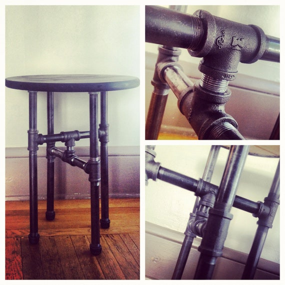 Wood And Metal Uriah Adjustable Accent Table: Items Similar To Industrial Table, Black Steel Pipe