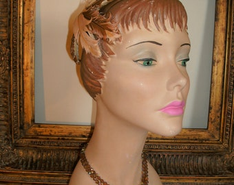Vintage 1950's Sue-Lee by Irving Brown & Peach Feather Hat