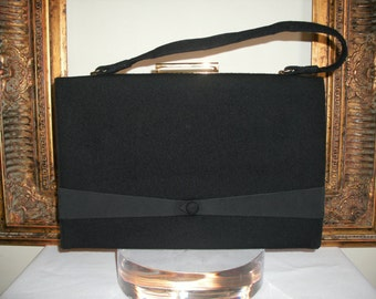 Vintage 1960's/70's Black Wool Handbag by GDK