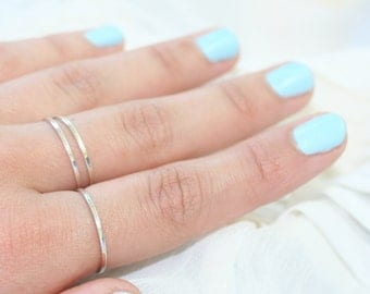 3 Smooth Stackable Silver Rings Size 5-6-6