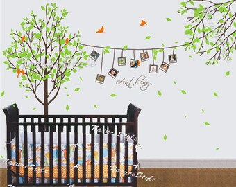 nursery tree wall decal Vinyl Wall Decal wall Sticker nature baby decal nursery wall decal  - Tree  and Flying Birds
