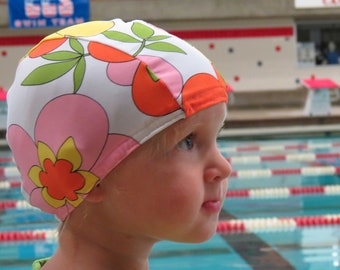Lycra SWiM CaP - FLOWER POWER - Sizes - Baby , Child , Adult , XL - Made from Spandex / Swimsuit Swimming Fabric -by Froggie's Swim Caps
