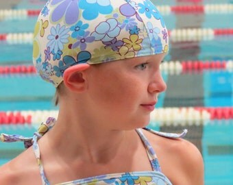 Lycra SWiM CaP - BLUE FLORAL - Sizes - Baby , Child , Adult , XL - Made from Spandex / Swimsuit Swimming Fabric -by Froggie's Swim Caps