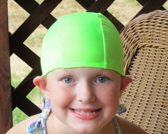 Lycra SWiM CaP - LIME GREEN - Sizes - Baby , Child , Adult , XL - Made from Spandex / Swimsuit Swimming Fabric -by Froggie's Swim Caps