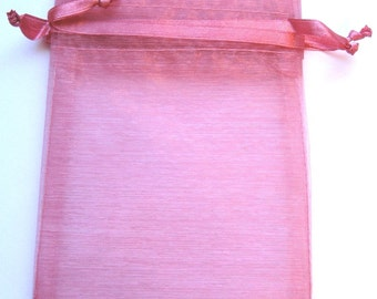 Set of 10 Rose Organza Bags (4x6)