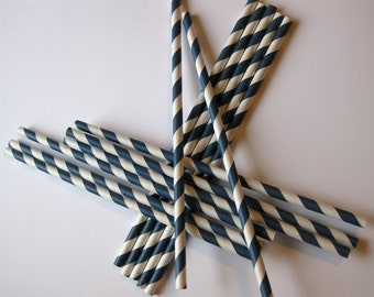 25 Paper Navy Blue & White Striped Straws - Free Printable Straw Flags