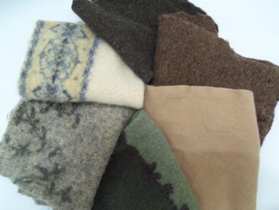 Felted wool sweater pieces for crafts, needle felting, stuffed animals, penny rugs, oversized 100% wool, set of 6