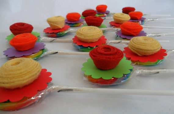 Cupcake Toppers Party Favors Lollipop Rolled Felt Flower Cupcake Toppers Party Favors Set of 15 for a birthday party baby shower Bat Mitzvah