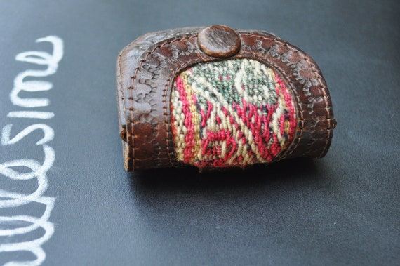 Leather Coin Purse with Tapestry - 1970's Vintage